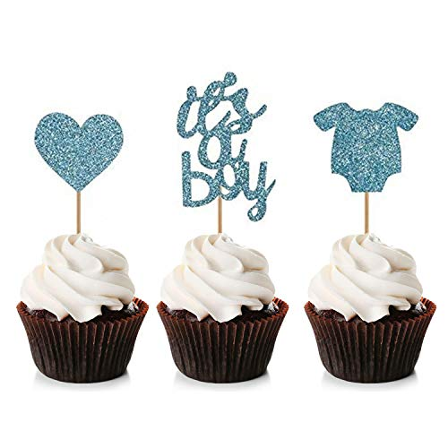Unimall 48 Stück Boy Cupcake Toppers Baby Jumpsuits Cupcake Picks für Baby Shower Party Dekorationen