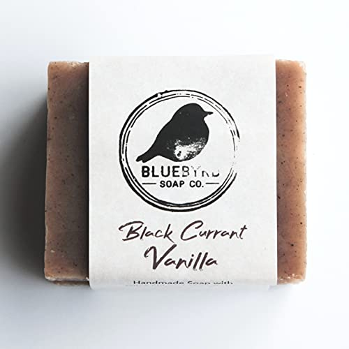 BLUEBYRD Soap Co. Black Currant Vanilla Soap Bar   Moisturizing Cleansing Bar, Face and Body Soap for Soft Skin   100% Natural Soap for Women   Paraben Free   Sensitive Skin Formula, Vegan Soap Made with Premium Coconut Oil, Vanilla Beans, & Natural Fragrances (CURRANT)