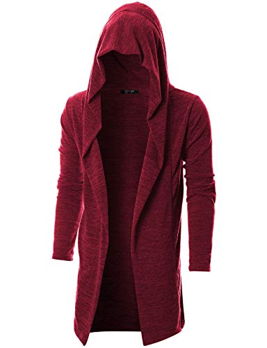 GIVON Mens Long Sleeve Draped Lightweight Open Front Longline Hooded Cardigan with Pocket/DCC255-RED-L