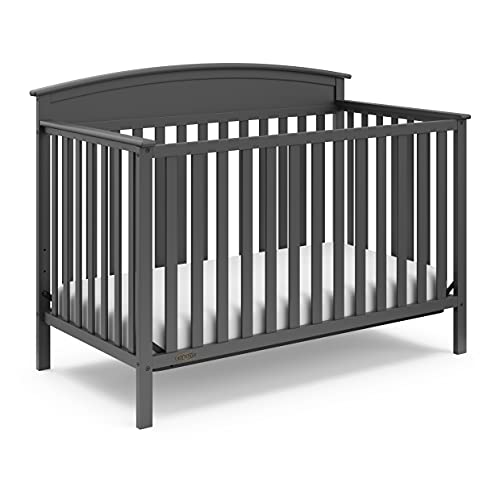 Graco Benton 4-in-1 Convertible Crib, Gray, Solid Pine and Wood Product Construction, Converts to Toddler Bed or Day Bed (Mattress Not Included), Grey