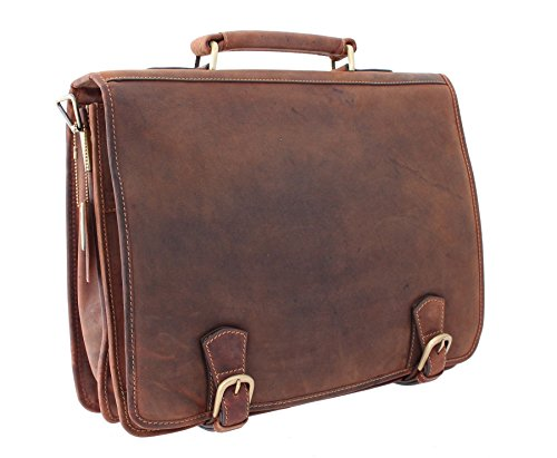 Visconti HULK Oiled Leather Briefcase With Carry Handle And Detachable Shoulder Strap 16134 Oil Tan