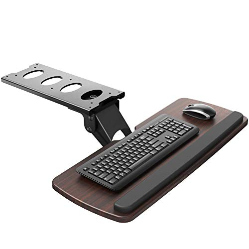 "HUANUO Keyboard Tray Under Desk,360 Adjustable Ergonomic Sliding Keyboard & Mouse Tray, 25"" W x 9.8"" D, Brown"