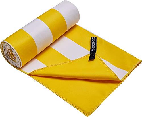 Cressi Fast Drying, Asciugamano/Telo Sportivo in Microfibra, Vari Colori e Misure Unisex Adulto, Stripe Giallo Girasole, 90 x 180 cm