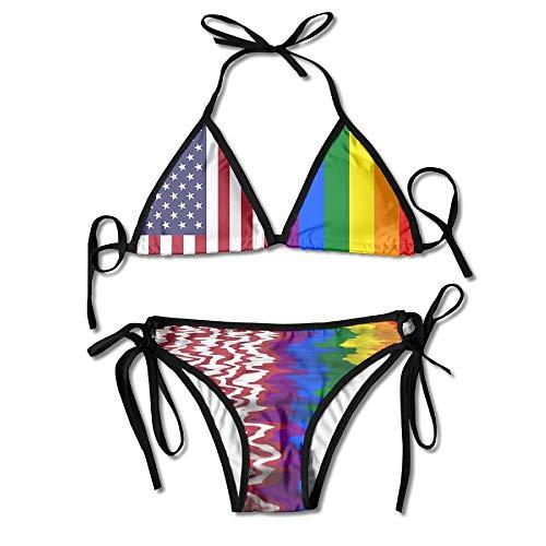 Zweiteiliger Bikini LGBT Regenbogen Flagge Von Amerika Bikini Set Badeanzug Schönen Geburtstag Sexy Unterwäsche Sommer Strand Gemütliches Geschenk Bademode 2 Stück Urlaub Sexy Cos