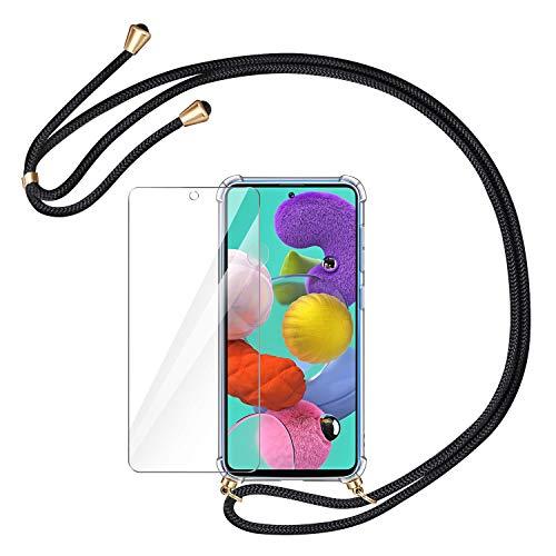 AROYI Handykette Handyhülle + Panzerglas Schutzfolie für Samsung Galaxy A51 Hülle mit Kordel zum Umhängen Necklace Hülle mit Band Schutzhülle Transparent Silikon Acryl Case für Samsung Galaxy A51