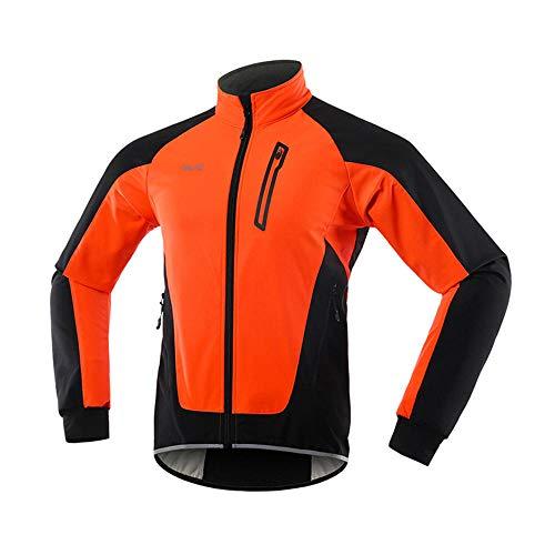 JXTEAM Chaqueta de Ciclismo de Invierno para Hombre Cortavientos Softshell Resistente al Agua Polar Térmico Prendas de Abrigo para Bicicleta-Naranja_S