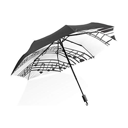 Abstrakt Piano Music Note Schwarz Schwarz Tragbar Leicht Kompakt Taschenschirm UV Schutz Wasserdicht Sonnig Winddicht Regensicher Rippe Outdoor Reise Frauen Männer Kind