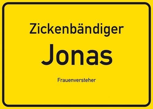 Postkarte Kunststoff +++ NAMENSSCHILD von modern times +++ JONAS +++ ARTCONCEPT ZICKENSCHILDER