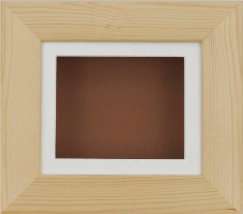 BabyRice Cadre de présentation profond pour objets d'art 2D 3D en pin naturel/crème/fond marron