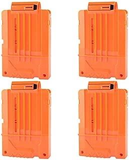 FUCAS Soft Bullet 4pcs Clips 6 Bullets Dart Gun Clips Magazine Clip For Nerf Toy Dart Gun (Orange)