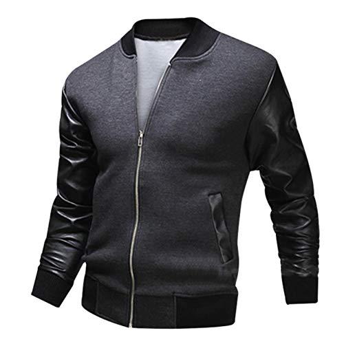 HRRPS Bomber Zipper Baseball Jacket Uniform Flight Wash Leather Cotton Patchwork