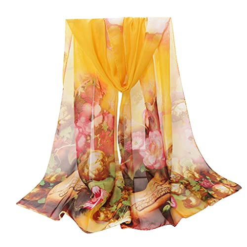 Impresión floral SHEER SOUTE Bufanda larga Bufandas Sheer Wrap Shawl Flower Flower Wrap Wrap Sun Playa Playa Bufanda de mujer Shafl Wrap Wrap Scarf Lightweight FLORAL impreso (Dama de la moda) 210822