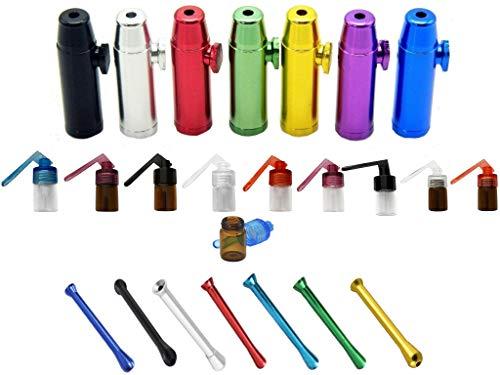 Großes Dosierer SET Portionierer Colored Sniff Snuff Bottle Sniffer Schnupf Spender Dispenser Dispensers Batcher verschiedene Varianten (Röhrchen, Spender, Löffel, Staubsauger, Rocket etc.) (SET 20)