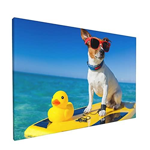 PATINISA Cuadro en Lienzo,Perro surfeando en una tabla de surf con gafas de sol y un pato de goma de plástico amarillo en la costa del océano,Impresión Artística Imagen Gráfica Decoracion de Pared
