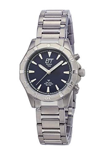 ETT Eco Tech Time Funk Solar Dameshorloge analoog met titanium armband ELT-11357-23M