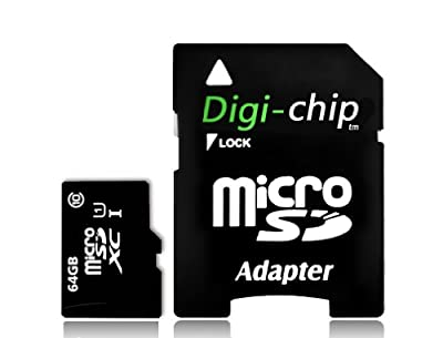 Digi-Chip 64GB Micro-SD Memory Card UHS-1 Class 10. Made with Samsung high speed memory chips. For Go Pro Action Cams Go Pro Hero 3, Hero 4, Hero 5, Hero Session, Hero 5 Session, Hero 6, Hero 7