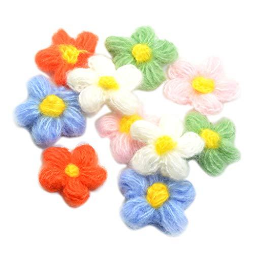 Hellery 10x Flores Ganchillo de Hilo de Lana Aplicaciones de Flores de Ganchillo Hechas a Mano para Bolsos, Manualidades, Decoración de Costura
