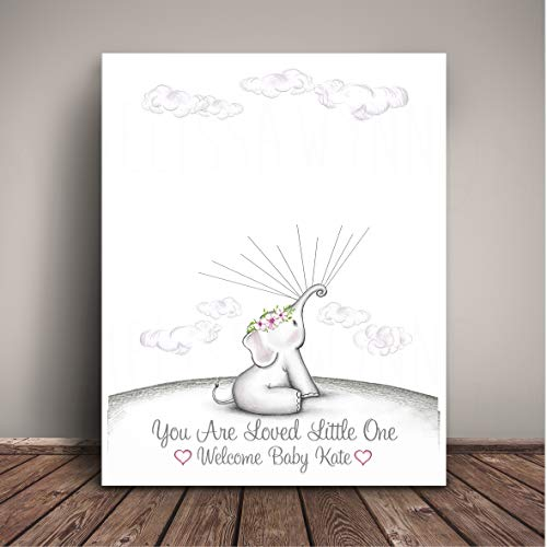 Elephant Baby Shower Art Print - Alternative to Guest Book - Guests Thumbprint Balloons - EBBT-TH-GV