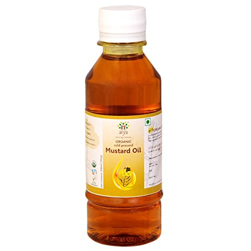 Arya Farm 100% Certified Organic Cold Pressed Mustard Oil, 200 ml ( Sarson Tel ) ( Cooking Oil ) ( Unbleached / Unrefined /...