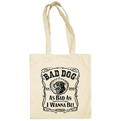 Diver Bebé Bolsa de tela frase perro raza Rottweiler Bad dog as bad as I wanna be - Beige, 38 x 42 cm
