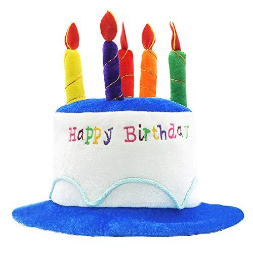 """Novelty Place Kuchenhut aus Plüsch mit Aufschrift """"Happy Birthday"""", Unisex, Erwachsenengröße, ideal als Partygeschenk, Kostümzubehör, Kuchen und 5 mehrfarbige Kerzen…"""