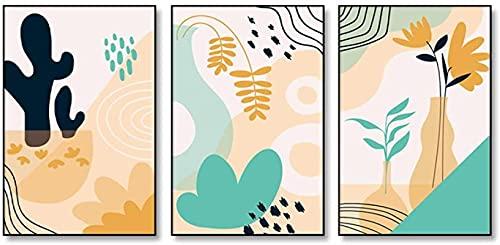 Obra de arte para el hogar 3 piezas 50x70cm Sin marco Boho Planta abstracta Línea de hoja de coral Paisaje Carteles nórdicos Impresiones Arte de la pared Pintura Sala de estar Decoración para el hogar