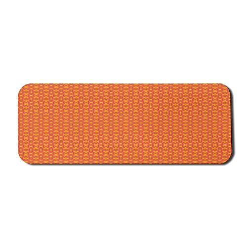 Abstraktes Computer-Mauspad, sich wiederholende Fliese wie inspiriert Vintage 60 's Aussehen Warm Tone Print, Rechteck rutschfeste Gummi Mousepad große orange und dunkle Koralle