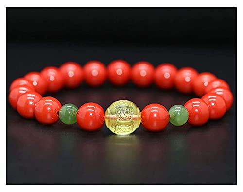 AnimeFiG Feng Shui Cinnabar Amuleto Pulsera Prosperidad Talisman con Corazón Amber Sutra Buddha Bead Hetian Jade Jasper Pulsera Lucky Charms Regalo para Mujeres/Hombres, 6mm (Talla : 6mm)