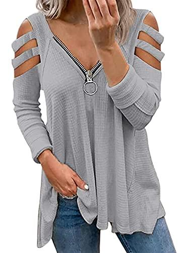 Charmlinda Blusa casual de verano para mujer de color sólido hombro frío túnica camisa cremallera cuello en...