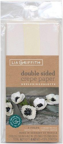 Lia Griffith Krepppapier 2/PKG WHT/VN/Papier, Weiß/Vanille & Vanille/Chiffon, Einheitsgröße