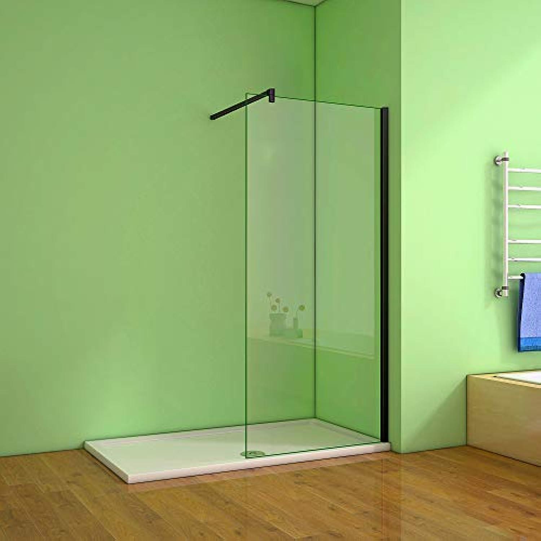Walk in Duschwand Duschabtrennung Duschtrennwand 8mm Nano Glas (50x200cm, Mit 140cm Schwarz Stabilisierungsstange)