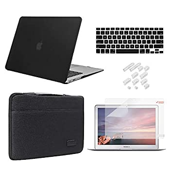MacBook Pro 13 Inch Case 2019 2018 2017 2016 Release A2159/A1989/A1706/A1708 iCasso Hard Plastic Case Sleeve Screen Protector Keyboard Cover & Dust Plug Compatible MacBook Pro 13   - Black