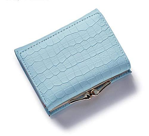 Billetera De Mujer Tres Veces La Cartera De Cuero De La Grieta De La Moneda Pequeña Tarjeta Monedero Hold Mini Cambio Monedero Azul Carteras Femeninas Caliente