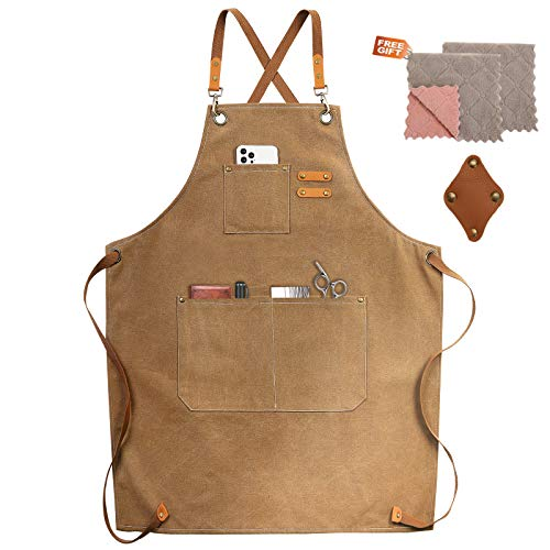Chef Apron, Cotton Canvas Cross Back Apron with Pockets for Women and Men,Adjustable Strap and Large Pockets Apron,Kitchen Cooking Baking Bib Apron