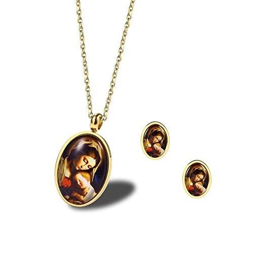 FUKAI Simple Virgen María con Su Bebé Jesús Colgante Collar con Pendientes Collares Religiosos De Acero Inoxidable Virgen De Guadalupe