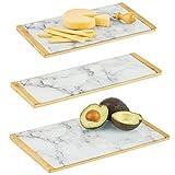 mDesign Juego de 3 bandejas Decorativas con diseño marmolado – Bandeja Rectangular para Cocina, baño y Oficina – Organizador de Cocina para Desayuno y Tapas en bambú y Cristal – Blanco, Gris y bambú