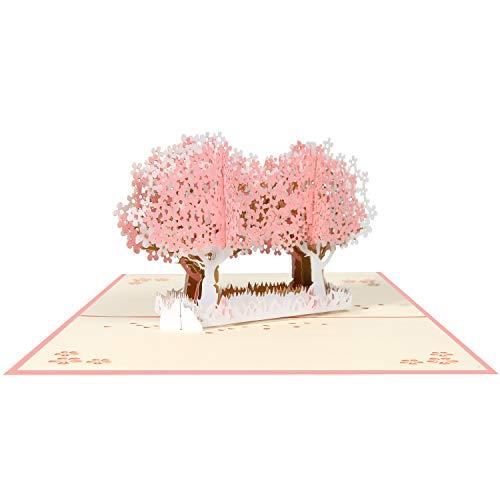 Tarjeta 3D, Pop-up Tarjeta de Felicitación, Tarjeta Plegable para Boda Romantica Aniversario Cumpleaños Navidad Dia de la Madre San Valentín Tarjeta de Graduación, Árbol Sakura