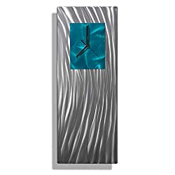 Statements2000 Unique Hand-Crafted Abstract Silver and Teal Metal Wall Clock - Modern Contemporary Functional Home Decor Art Sculpture - Ocean Energy by Jon Allen -24-inch