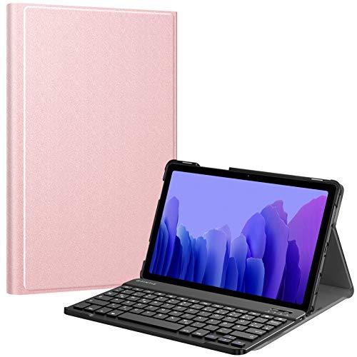 Fintie Tastatur Hülle für Samsung Galaxy Tab A7 10.4\'\' 2020 (SM-T500/T505/T507), Ultradünn leicht Schutzhülle mit magnetisch Abnehmbarer drahtloser Deutscher QWERTZ Bluetooth Tastatur, Roségold