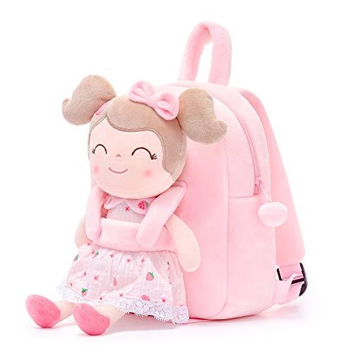 Gloveleya Kinderrucksack Kleinkindrucksäcke Personalisierte Cartoonrucksack Baby Girl Travel Use - Spring Girls Rucksack mit unabhängiger Puppe - Erdbeere 23CM