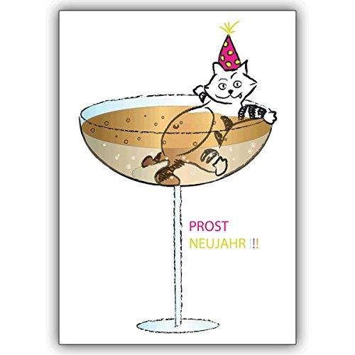 Wenskaarten met korting voor hoeveelheid: oudejaarskaart voor het nieuwe jaar met in champagne badende kat: Prost Nieuwjaar!!! • Als wenskaart met envelop voor Kerstmis, Nieuwjaar, oudejaarsavond voor familie en vrienden. 16 Grußkarten