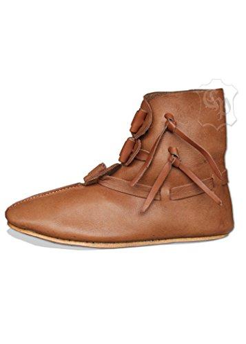Battle-Merchant Wendegenähte Halbstiefel mit Knebelverschluss LARP Mittelalter Schuhe Stiefel Größe 43