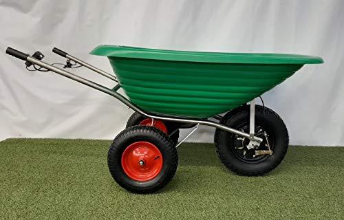 Smartwiel AKKUSCHUBKARRE DELUXE Elektroschubkarre Motorschubkarre Tragfähigkeit 50 kg (185 l, Grün) Li-Ion AKKU