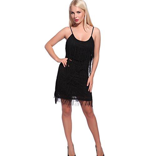 Anladia Damen Fransen Pailletten Party Tanzkleid Charleston Festlich Damenkostüm, M, Lang Flapper-schwarz