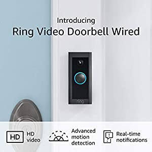 Ring Video Doorbell Wired with Plug-In Adapter – Convenient, essential features in a slimmed down design (Plug-In or use existing doorbell wiring) - 2021 release
