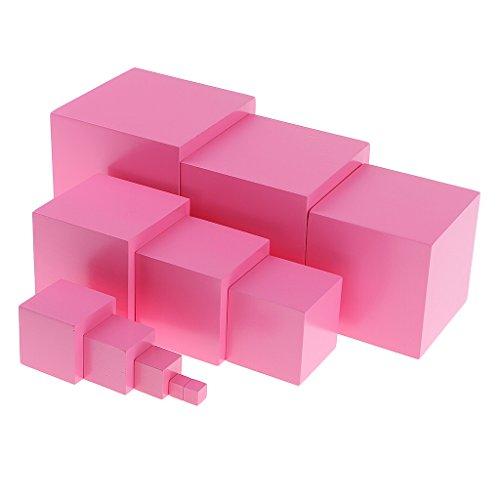 B Blesiya 11 Cubos De Bloques De Construcción De Torre Rosa para Ayuda Didáctica De Kindergarten Montessori