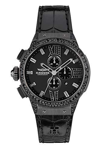 HÆMMER Damen Armbanduhr 'Midnight E-002' analoger Quarz-Chronograph in Schwarz mit kratzfestem Saphirglas (Ø 45mm