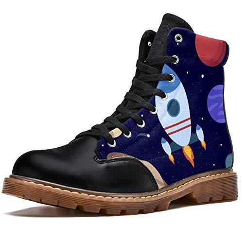 TIZORAX Raqueta planetas estrellas en el espacio estampados alta parte superior de encaje clásico de lona botas de invierno para hombres adolescentes y niños, color Multicolor, talla 42 1/3 EU