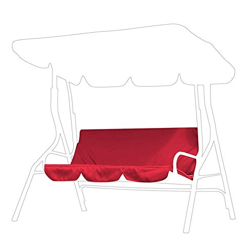 BYARSS Outdoor Swing 3‑Seat Chair Waterproof Cushion Replacement for Patio Garden Yard(Red)