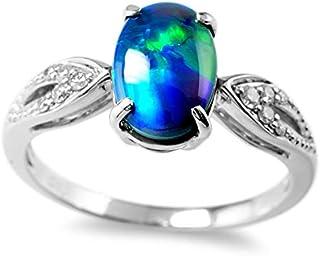 【鑑別付】K18WG 天然 ブラックオパール 0.90ct ダイヤモンド 0.07ct 10-18号 18金ホワイトゴールド オーストラリア産 ブラック オパール 18金/18K リング 指輪 レディース